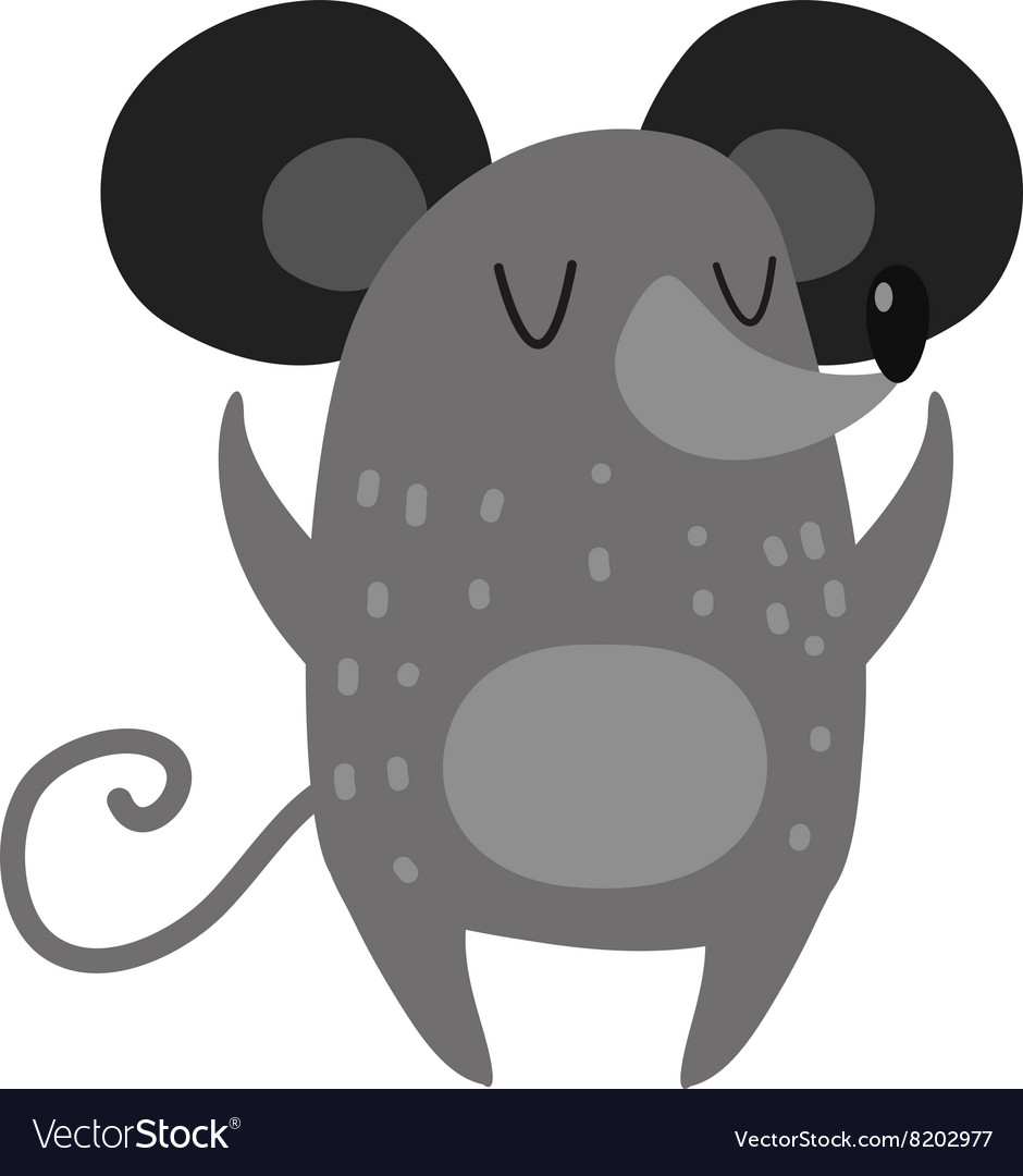 Cartoon smiling gray hand drawn mouse arms