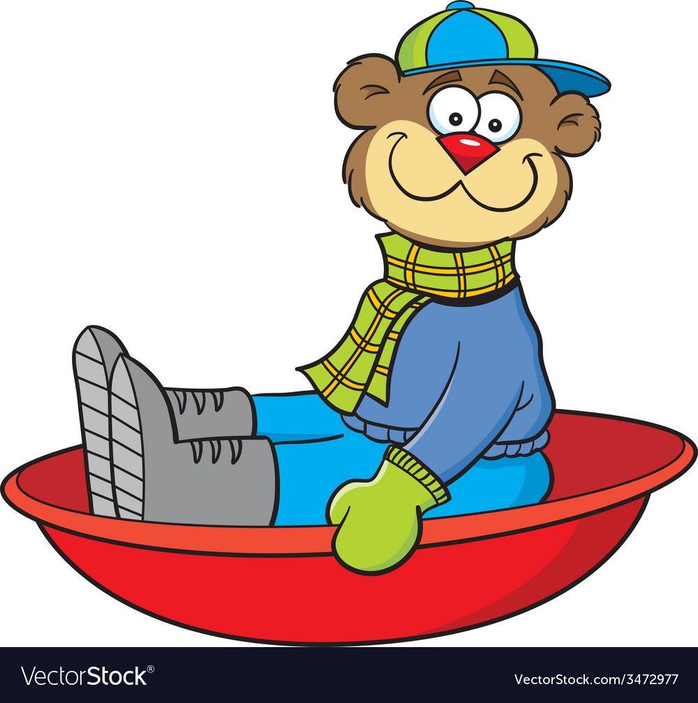 Cartoon teddy bear on a sled