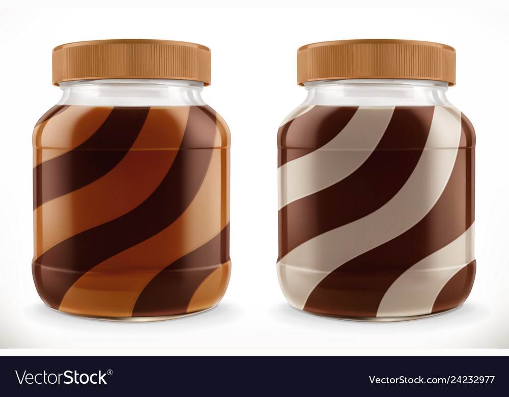Chocolate swirl duo spread in glass jar 3d