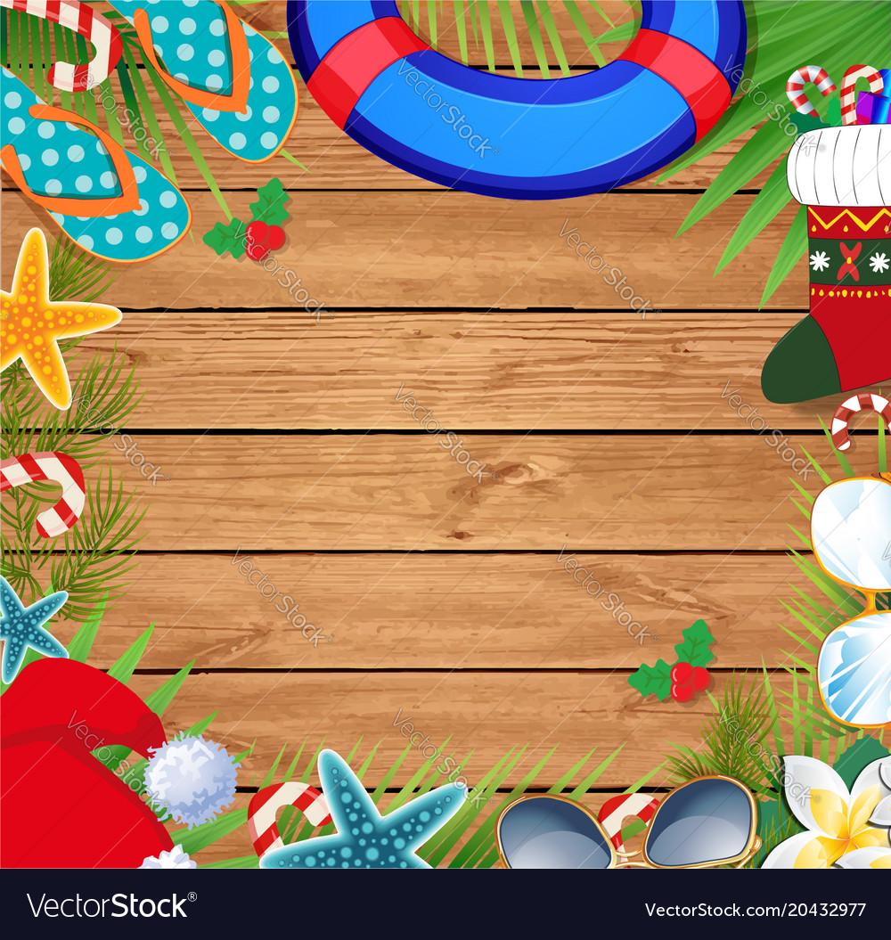 Christmas Beach.Christmas Beach Border With Copy Space