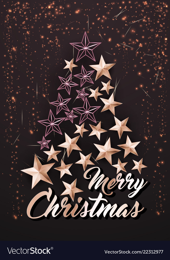 Christmas poster or card template with stars tree