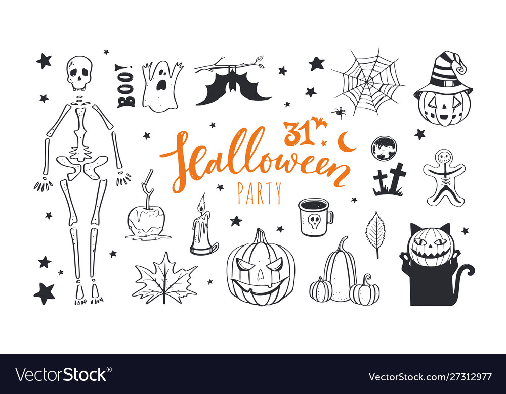 Doodle halloween night collection spooky