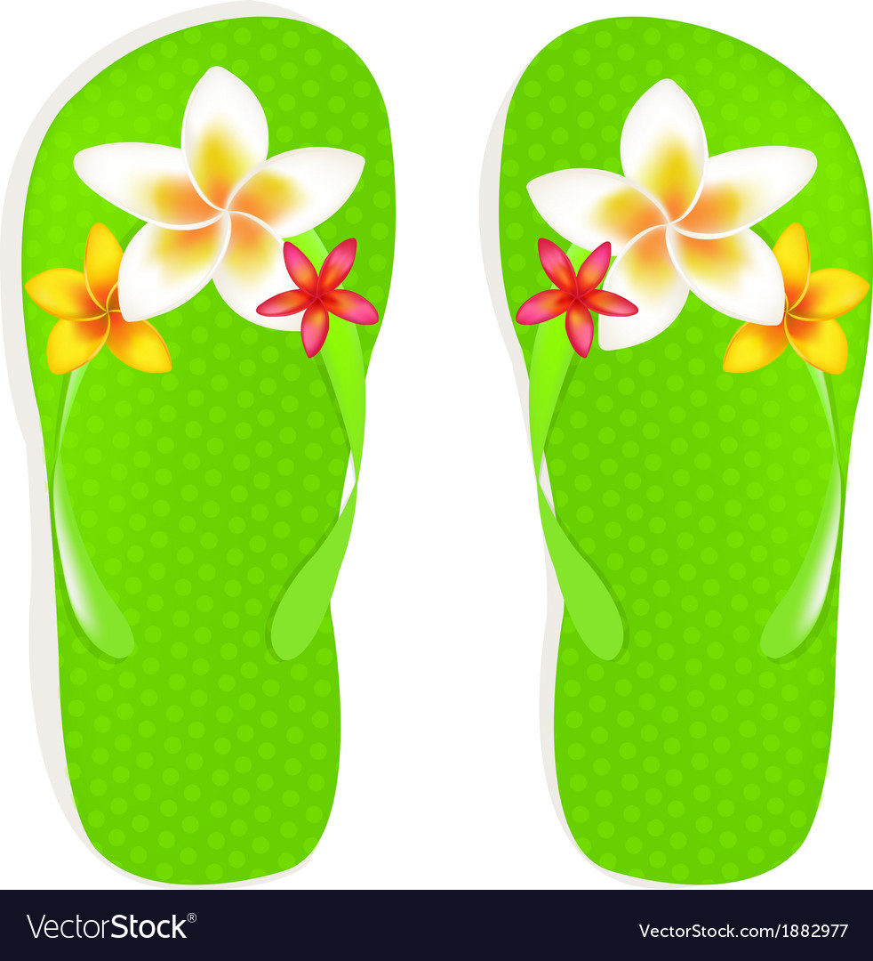 22dc6f2dfb79 Flip Flops With Flowers Royalty Free Vector Image