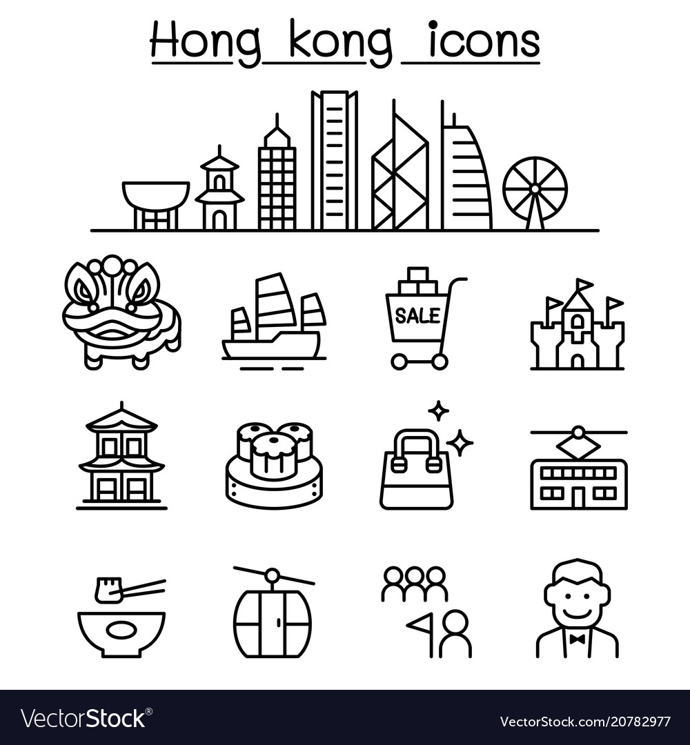 Hong kong icon set in thin line style