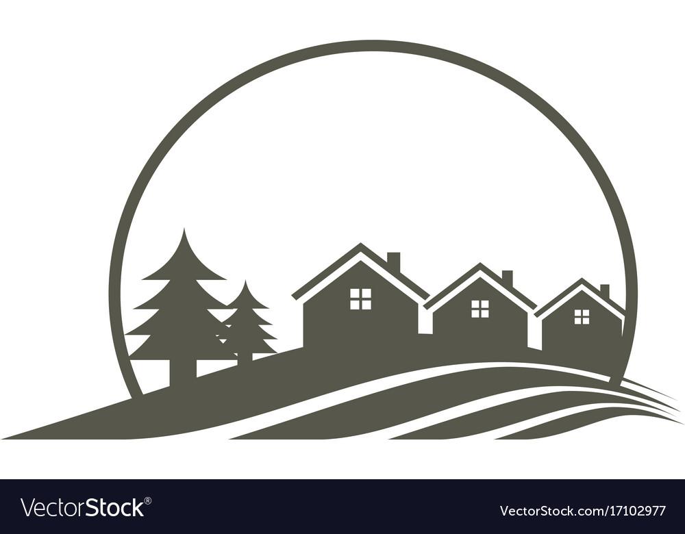 House pine tree villa logo