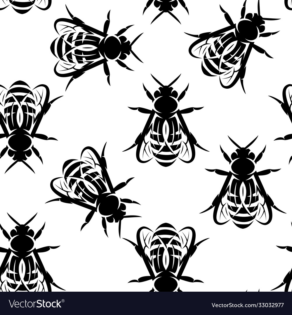 Seamless background with bees monochrome