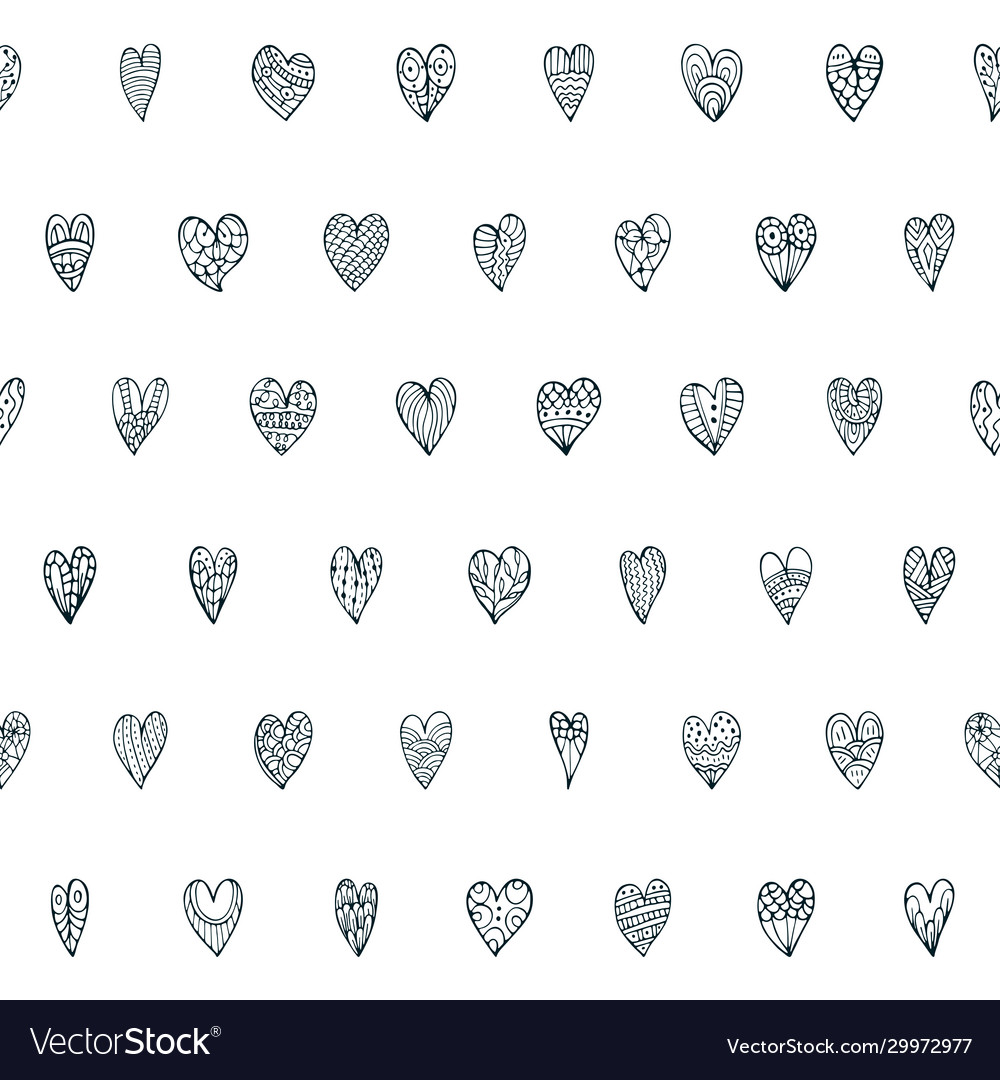 Seamless doodle pattern with different hearts