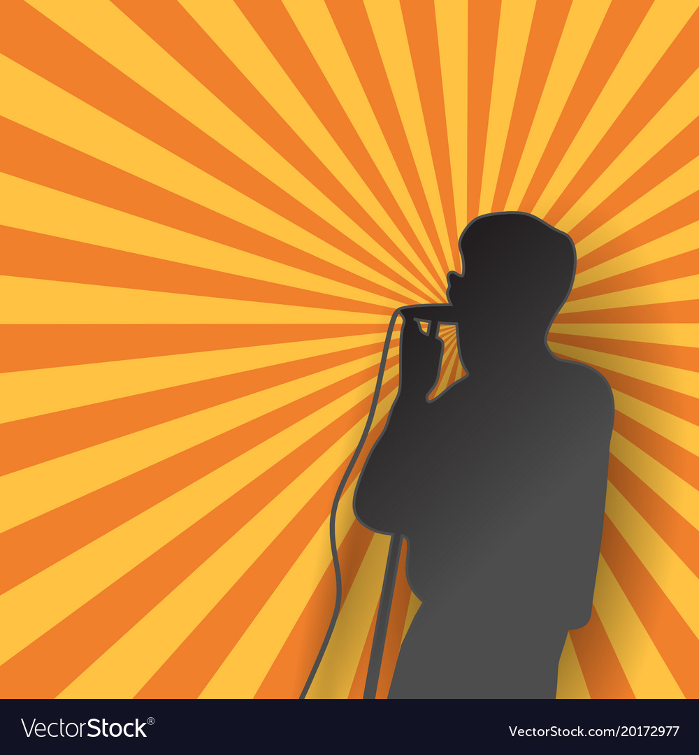 Singer in silhouette paper art style with vector image