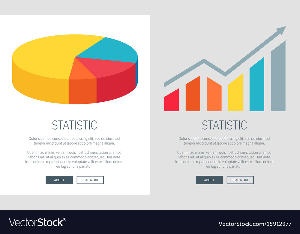 Statistic Design With Pie Chart And Bar Graph Vector Image