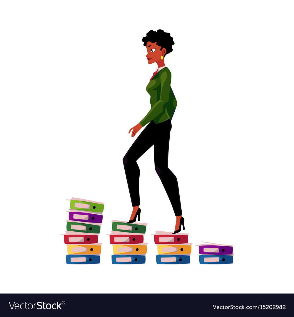 Black african american businesswoman climbing up