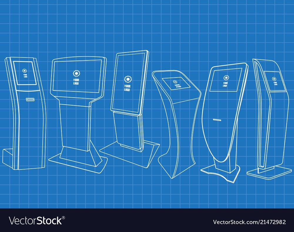Blueprint of set of promotional information kiosk