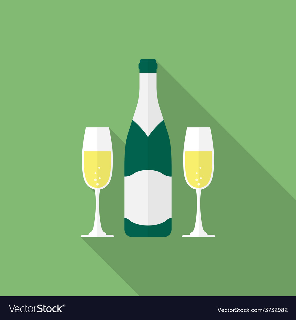 Bottle champagne and glasses of champagne Flat