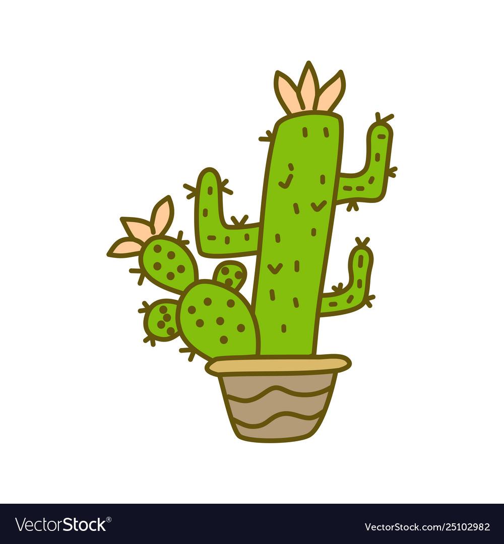 Cactus pot design template