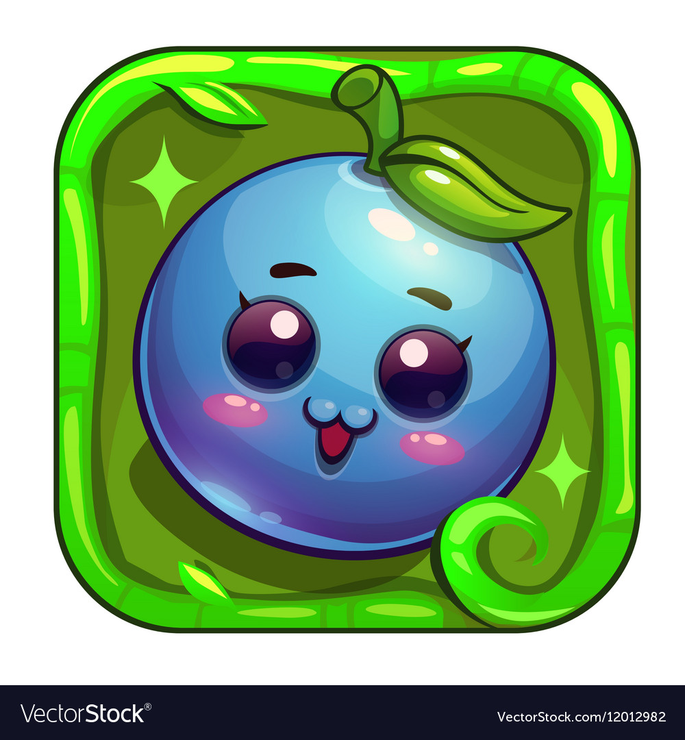 Cartoon app icon with funny blueberry character