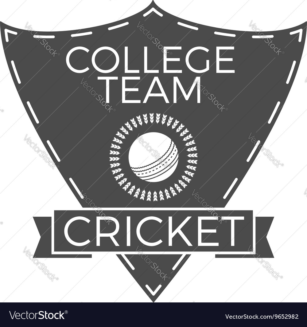 Cricket college team emblem and shield logo vector image