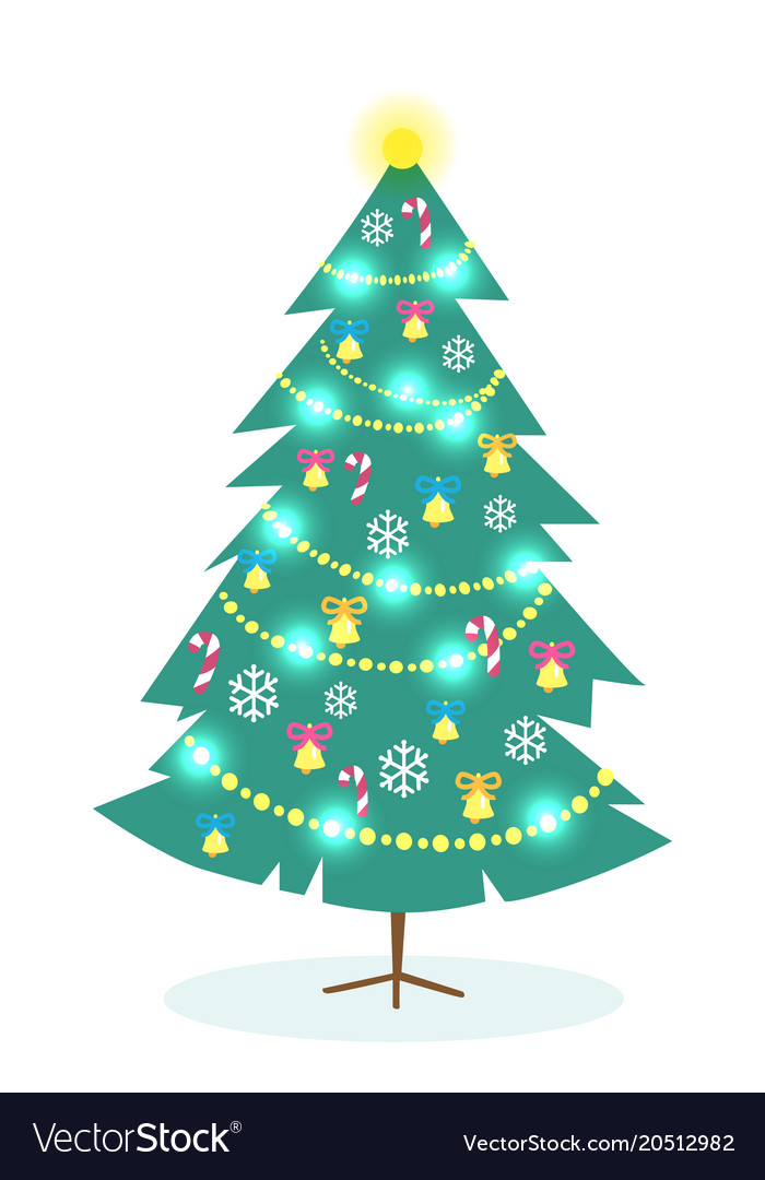 Christmas Tree White Background.Decorated Christmas Tree On White Background