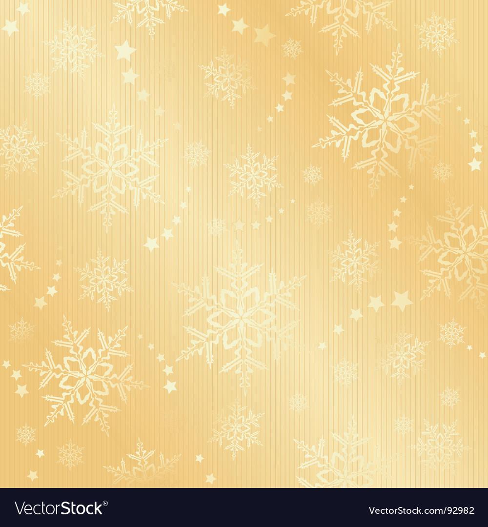 Golden snow flake winter pattern vector image