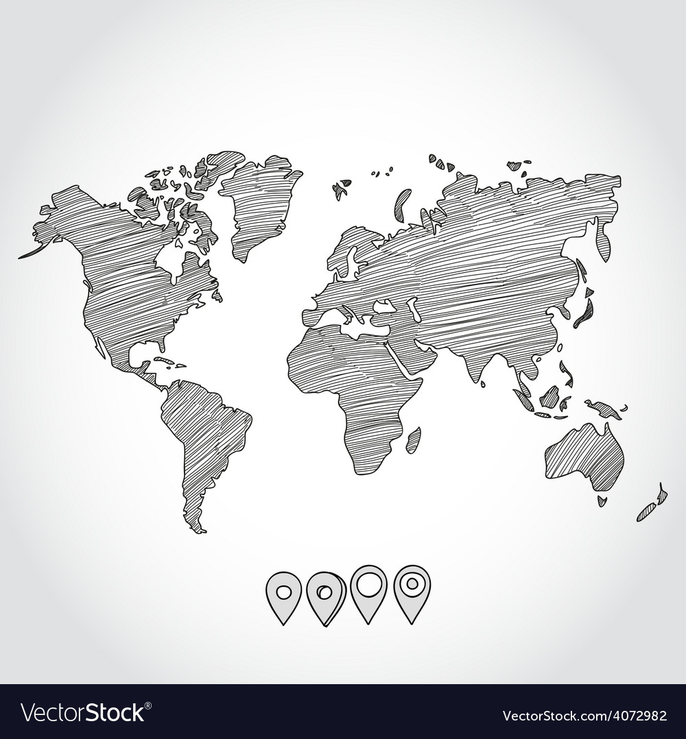 Hand drawn doodle sketch political world map and Vector Image
