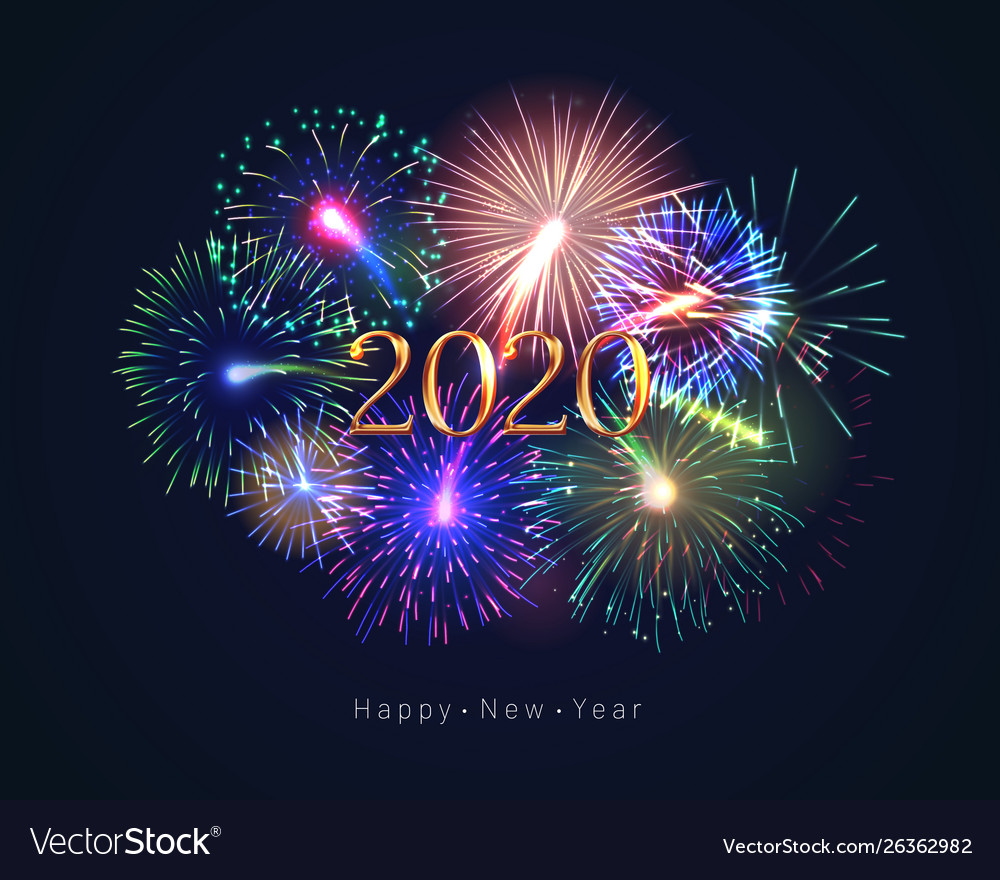 Happy New Year 2020 Greeting Card With Fireworks