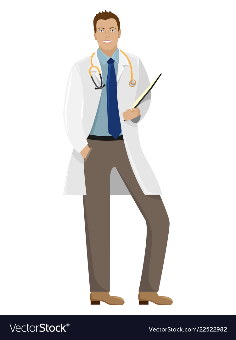 Man doctor in white coat with a folder
