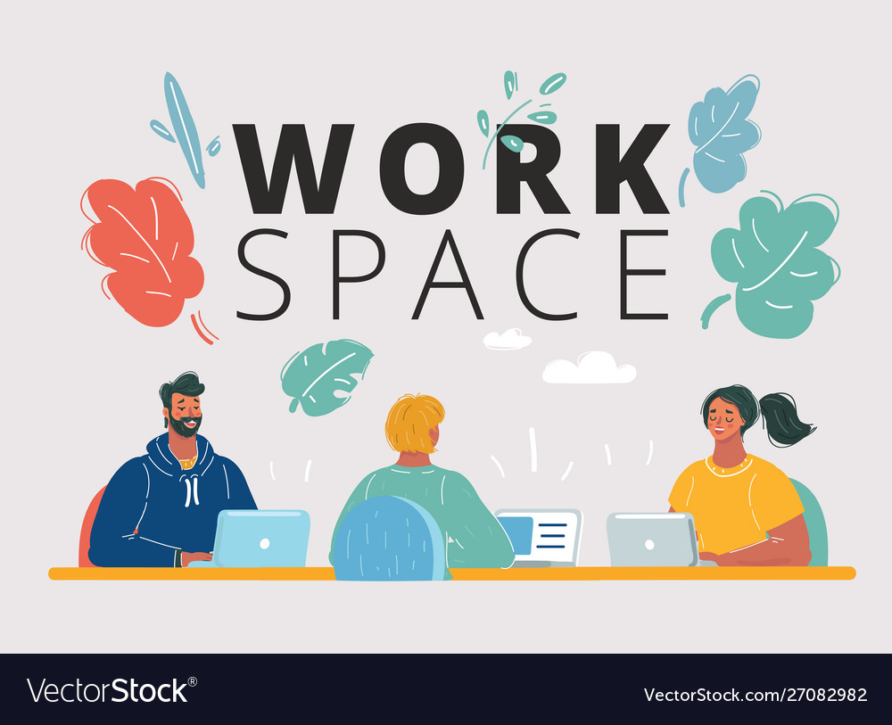 People work in a team at table