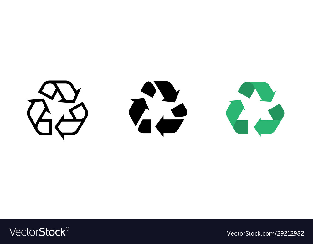 Recycle line icon recycling symbol set
