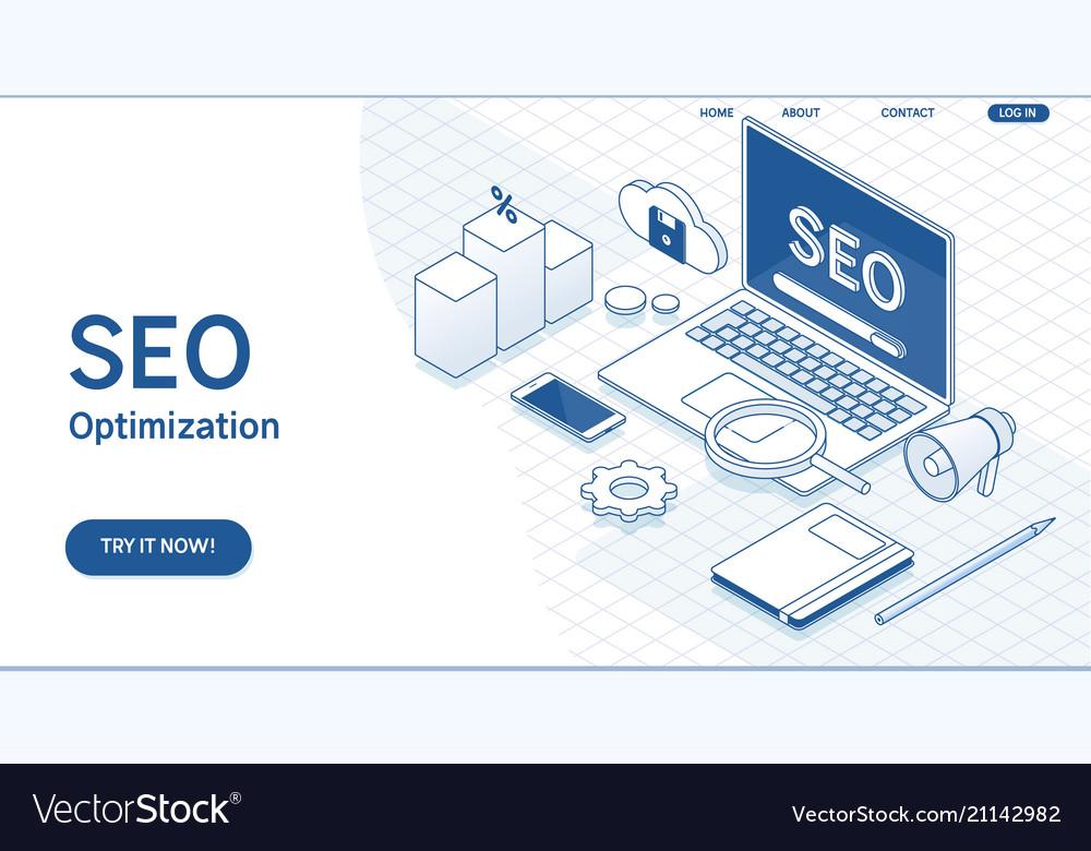 Seo optimization web page templateflat