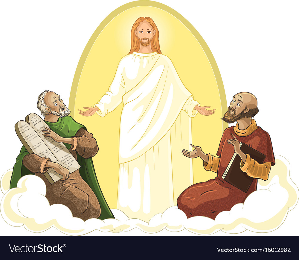 Transfiguration of jesus isolated on white vector image