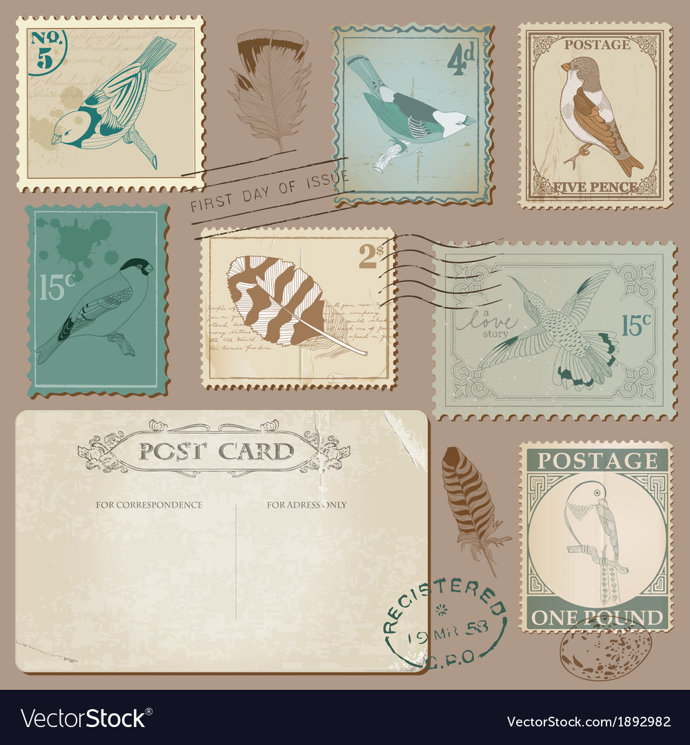 Vintage Postcard and Postage Stamps with Birds