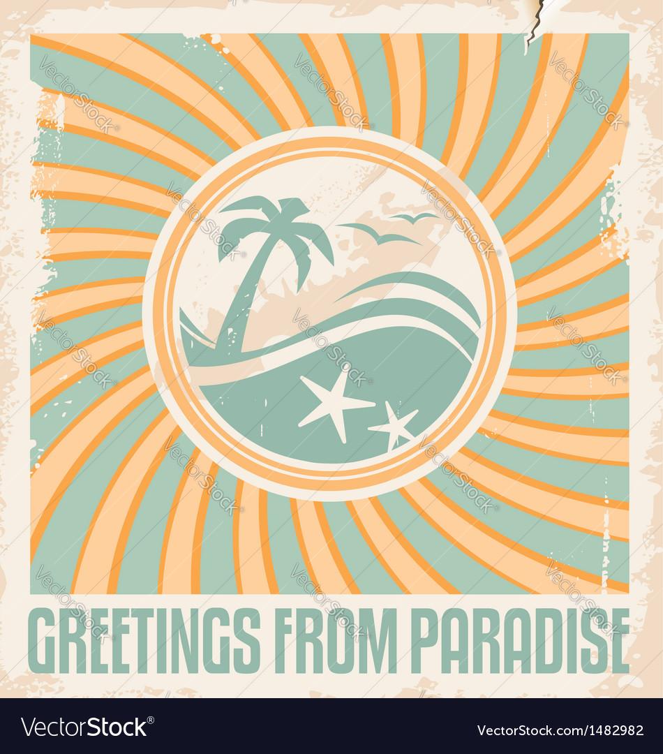 Vintage Summer Postcard Template Royalty Free Vector Image