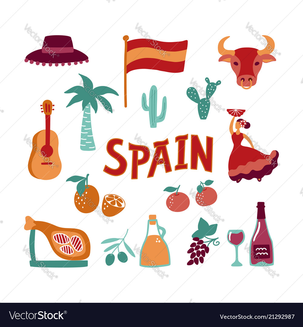 Collection Hand Drawn Symbols Of Spain Culture Vector Image