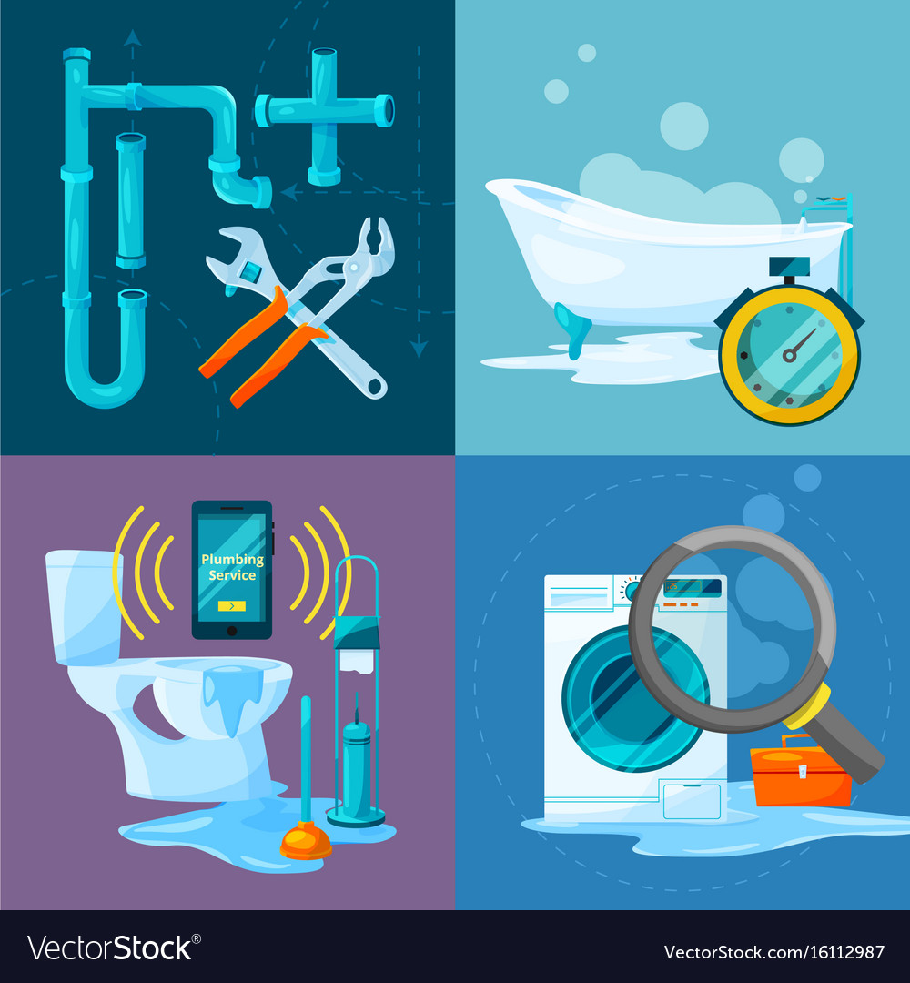 Conceptual pictures set of plumbing works