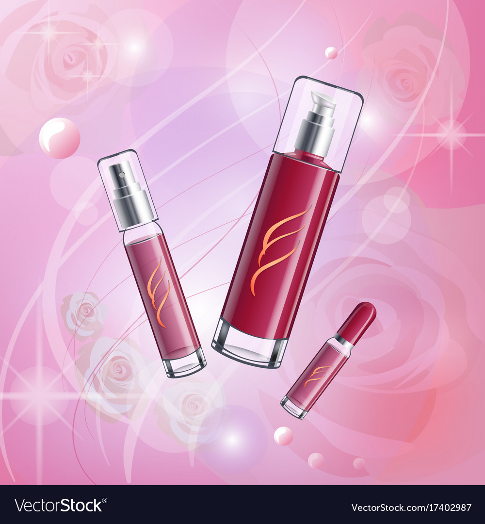 Elegant pink camellia with cosmetics vector image