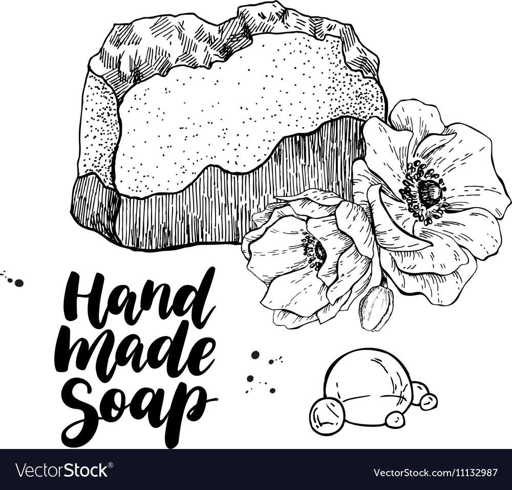 Handmade natural soap hand drawn organic
