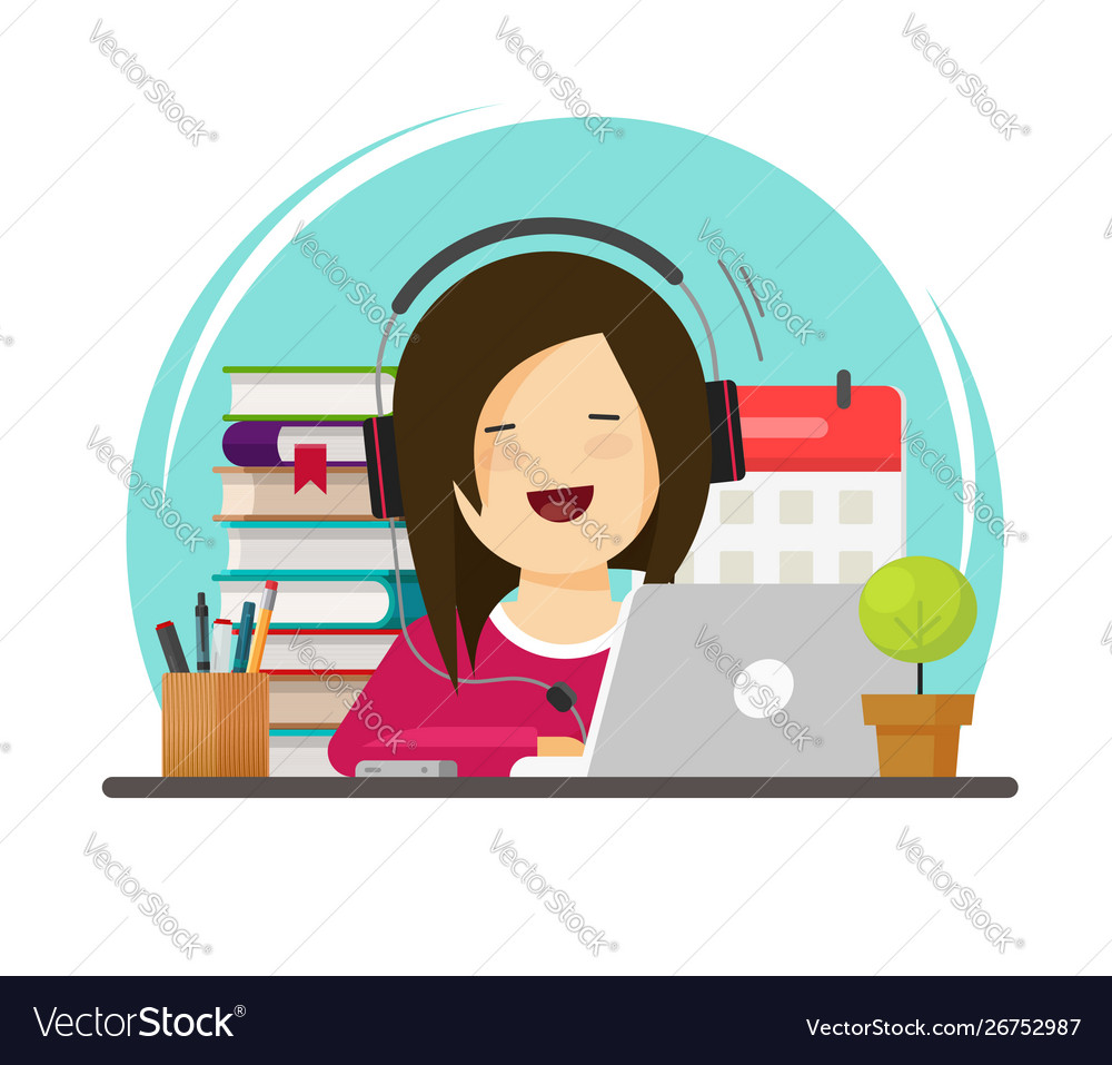 Happy person studying or working on desk on