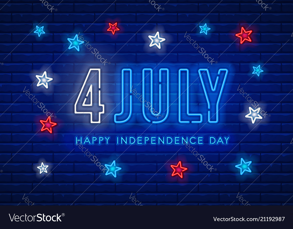 Independence day neon sign