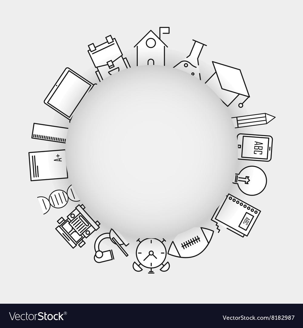 Line icons school school iconsModern infographic