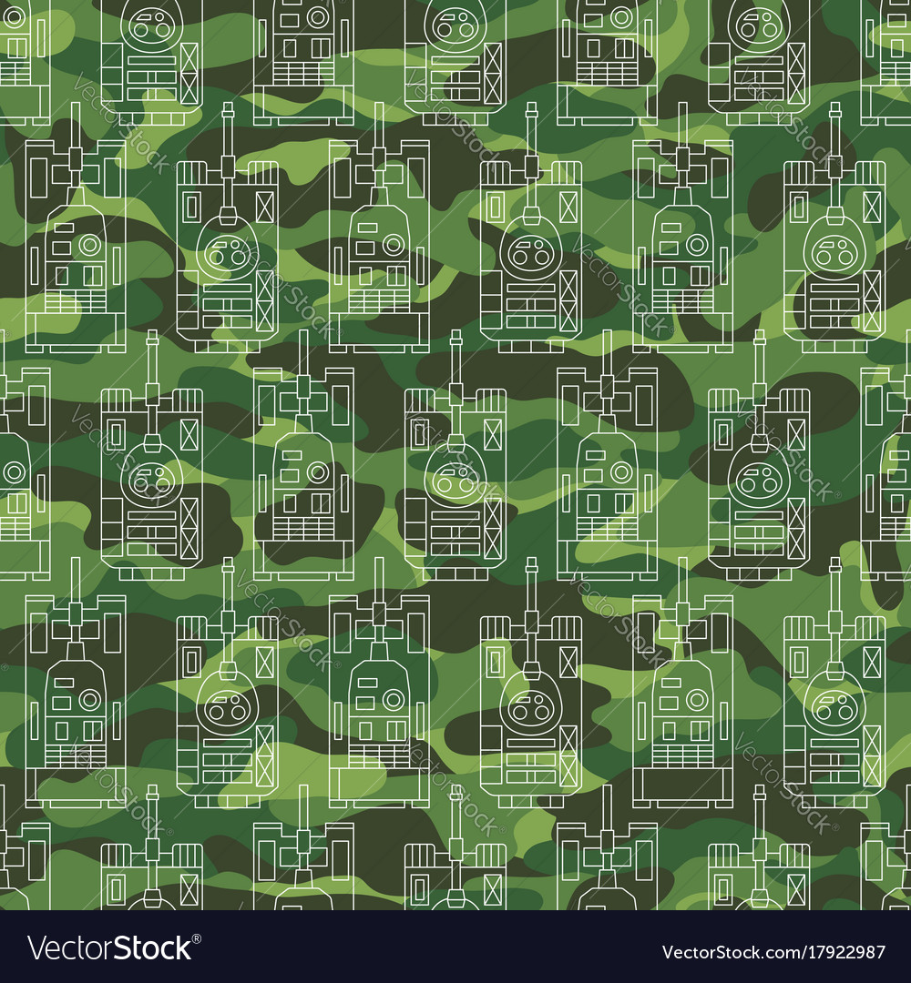 Seamless pattern with tanks on camouflage vector image