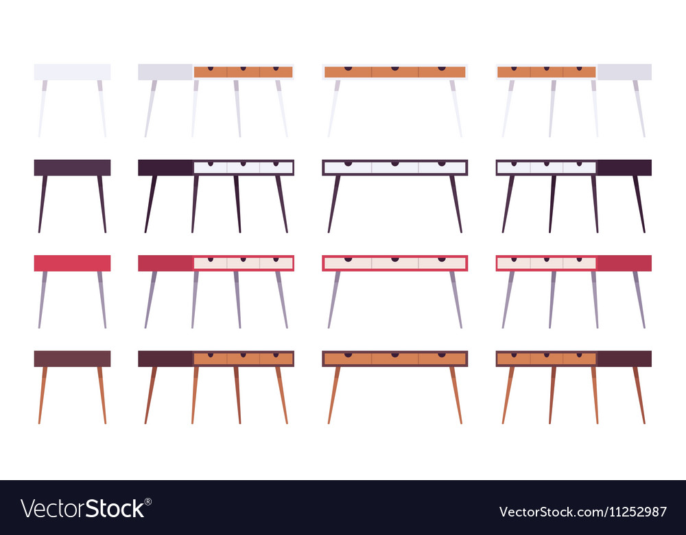 Set of tables with drawers vector image