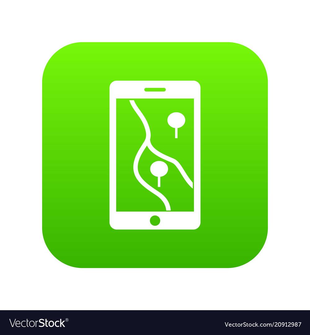 Smartphone with gps navigator icon digital green
