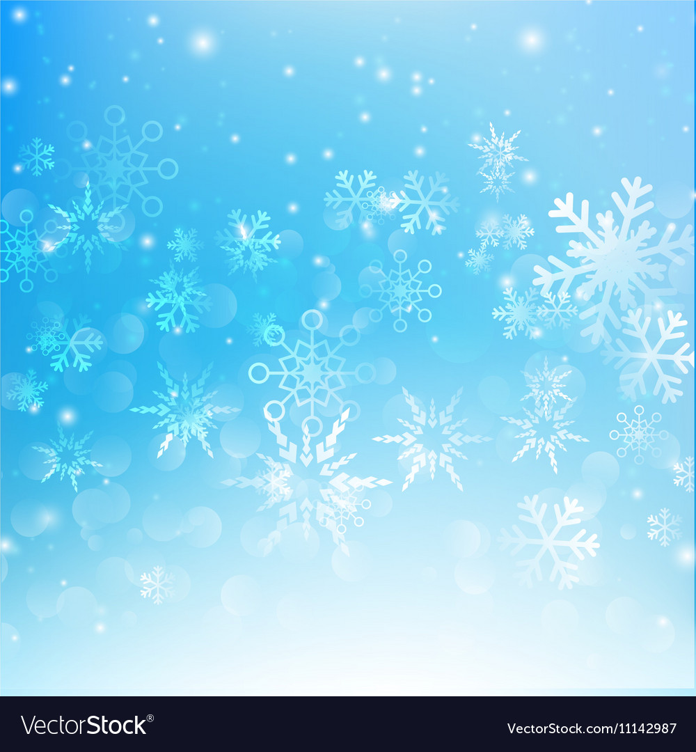 Snow fall with bokeh abstract blue background