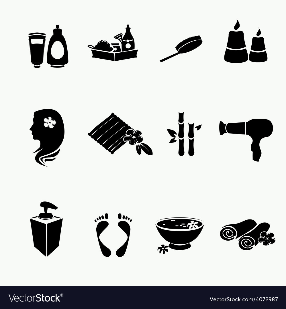 Spa doodle hand drawn sketch black icons set with