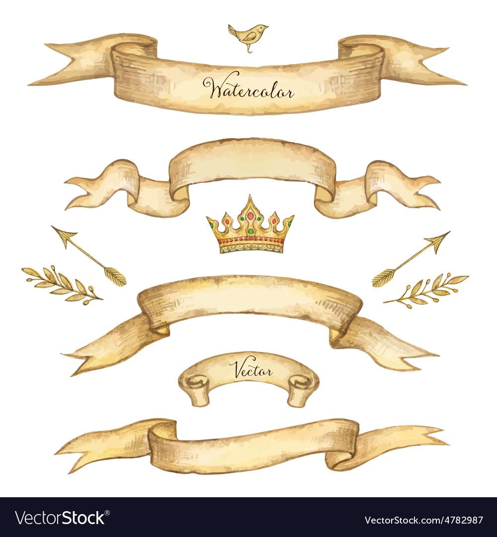 Watercolor set of ribbons