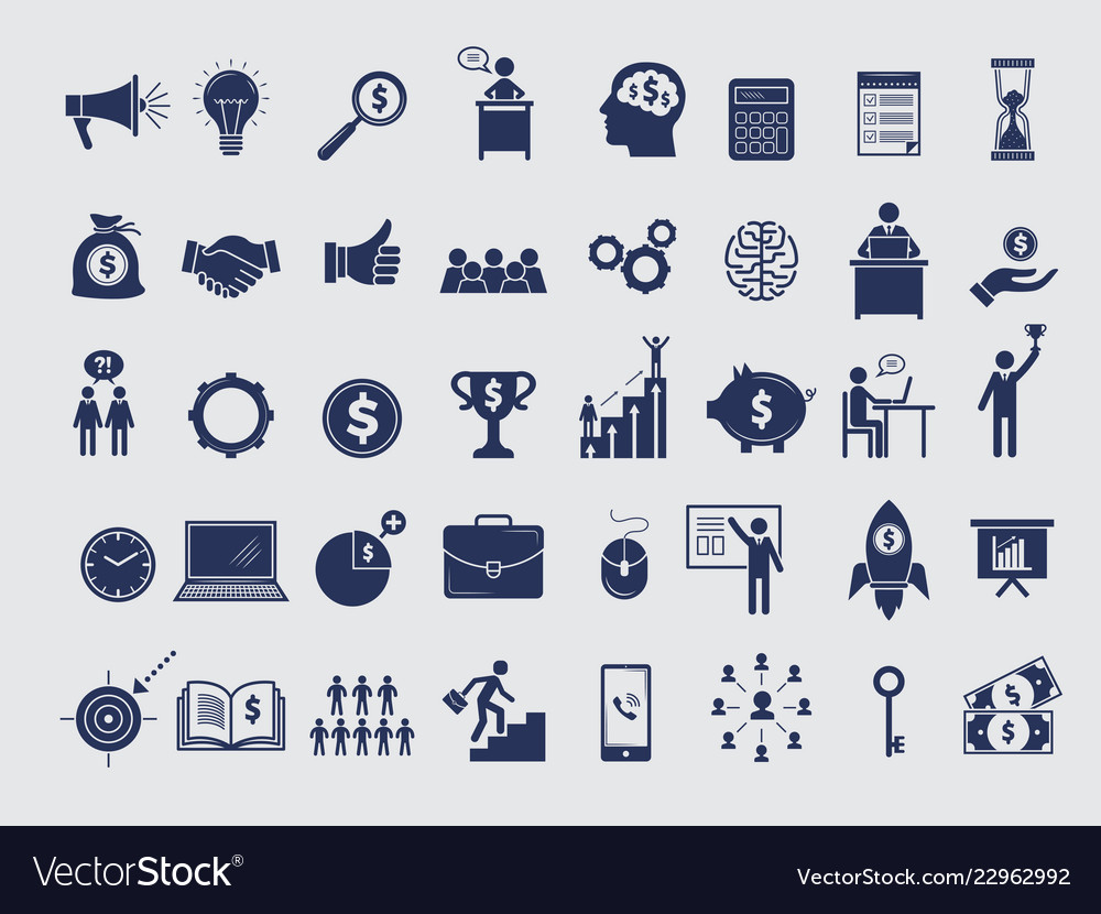 Business symbols collection diagram money vector