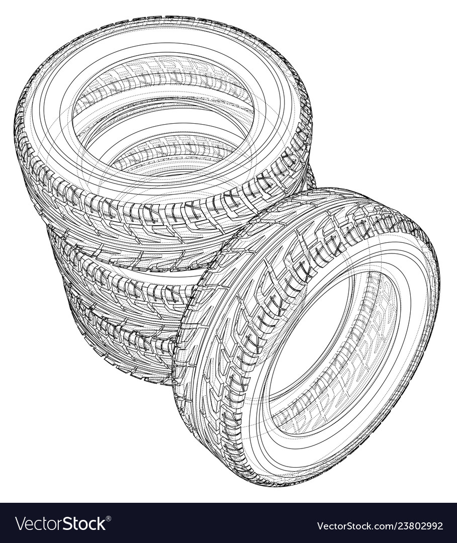 Car tires concept rendering of 3d