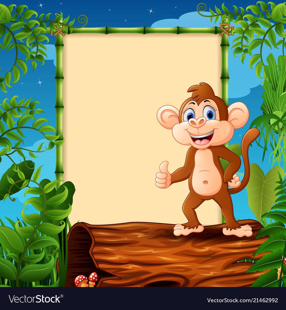 Cartoon monkey standing on hollow log near the emp