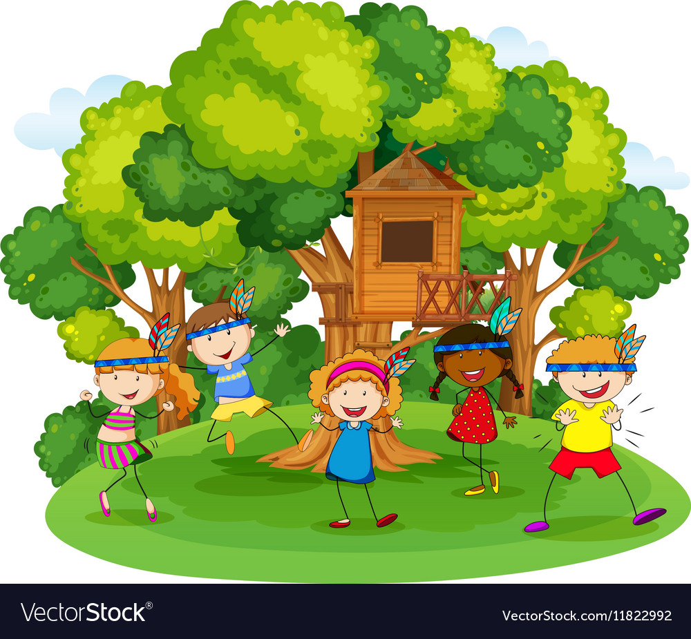 Children playing red indians in the garden vector image