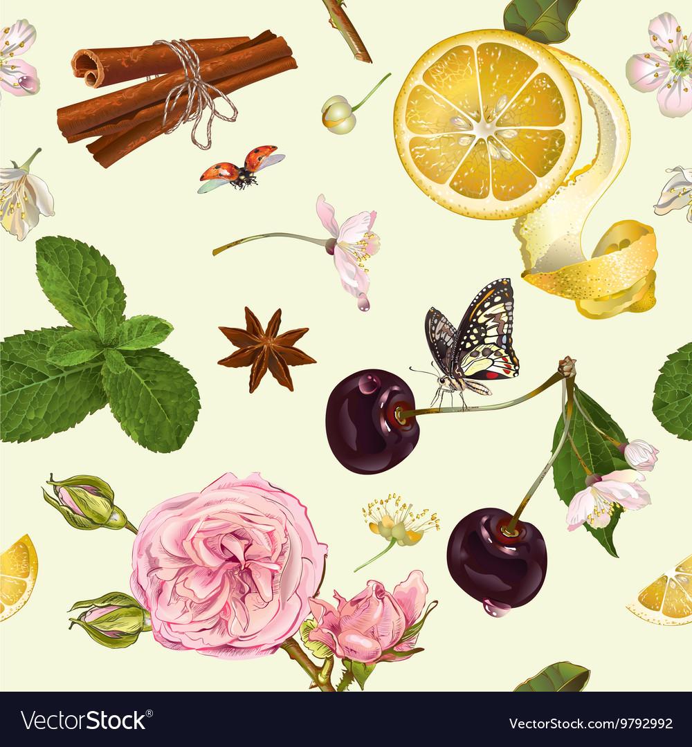 Fruit tea seamless pattern