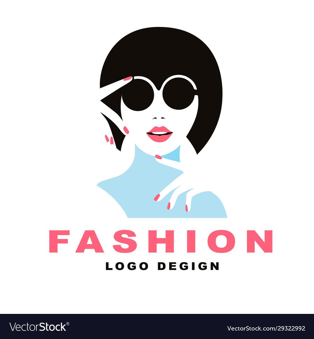 Logo elegant girl in glasses