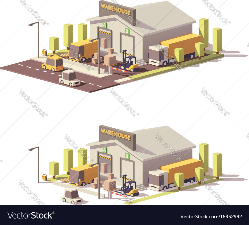 Low poly warehouse vector image